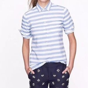 J. Crew Camp Popover Blue White Stripe Blouse 0